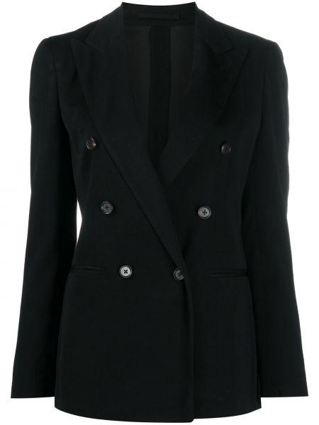 Шерстяной черный удлиненный пиджак двубортный Lardini