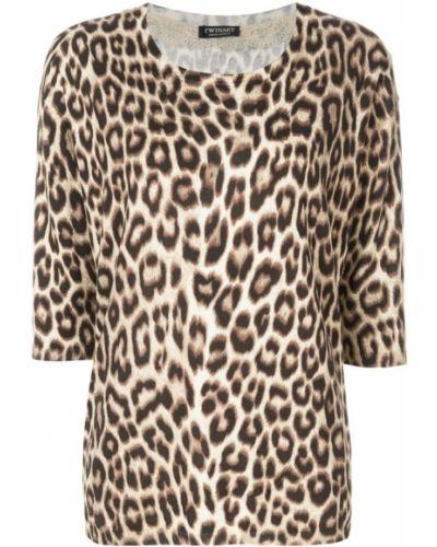 Кружевная блузка прямая с леопардовым принтом в рубчик Twin-set