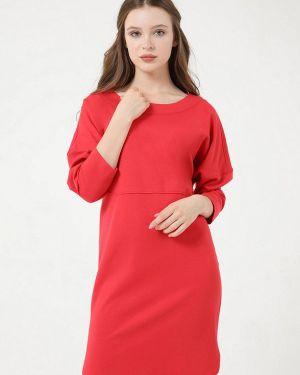 Повседневное платье коралловый красный мадам т