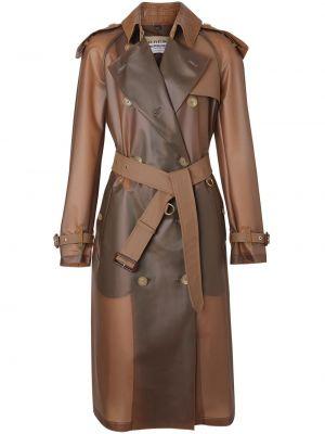 Коричневое кожаное пальто с воротником на пуговицах с лацканами Burberry
