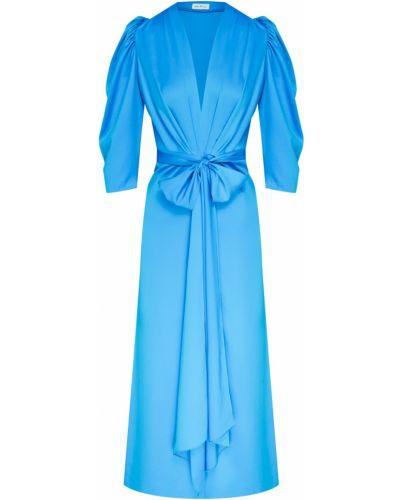 С рукавами платье миди с поясом с декольте ли-лу