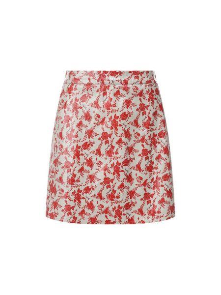 Кожаная юбка с кокеткой красный Drome