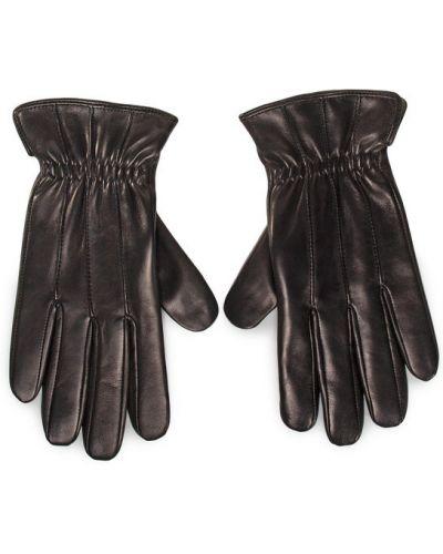 Czarne rękawiczki Rękawiczki Męskie Gino Rossi