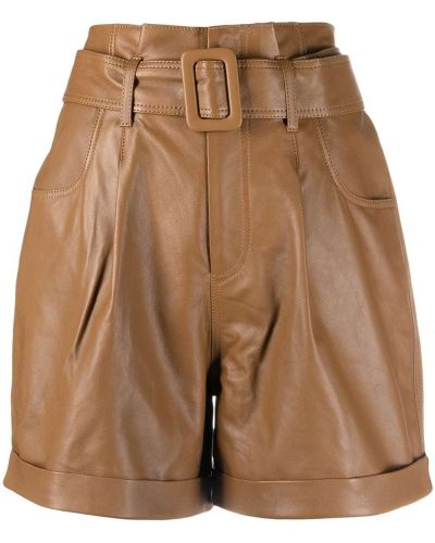 Коричневые кожаные шорты Federica Tosi