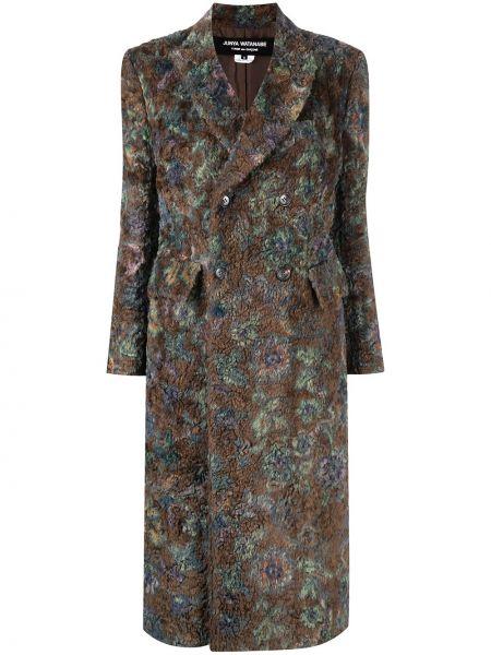 Коричневое длинное пальто двубортное с карманами Junya Watanabe