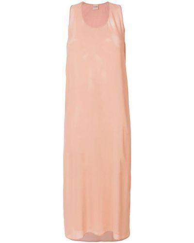 Платье миди с вырезом шелковое прозрачное Nude