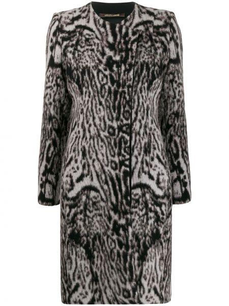 Коричневое длинное пальто из альпаки с запахом Roberto Cavalli