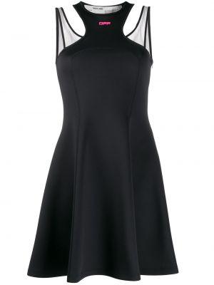 Черное платье мини на бретелях с вырезом круглое Off-white