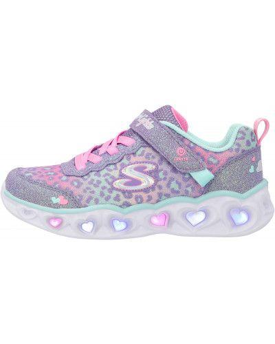 Облегченные фиолетовые кожаные кроссовки Skechers