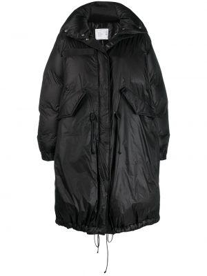 Нейлоновое черное свободное пальто на молнии Sacai