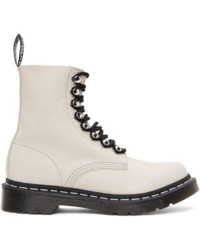 Koronkowa biały buty obcasy okrągły zasznurować Dr. Martens