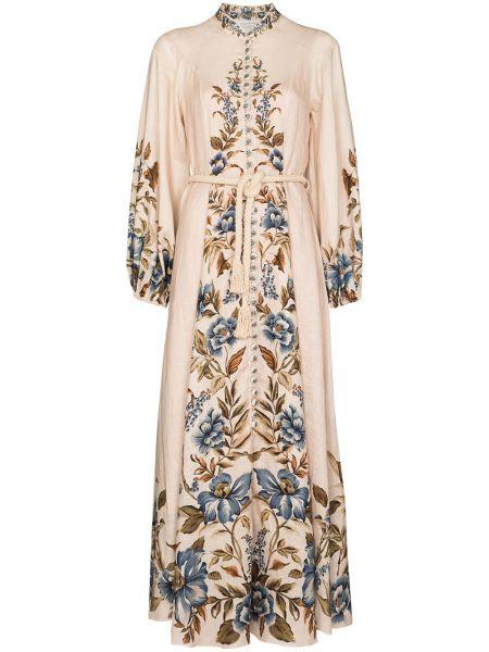 Платье макси длинное - бежевое Zimmermann