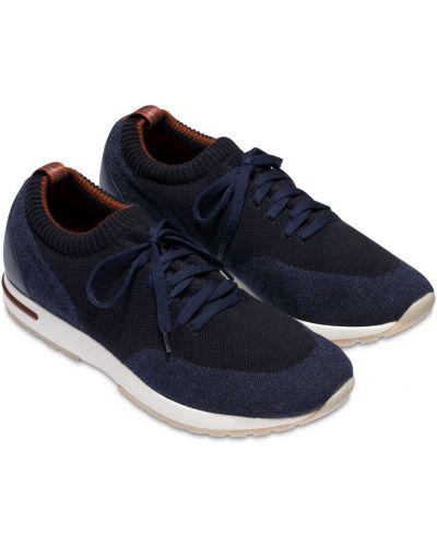 Синие кожаные кроссовки Loro Piana