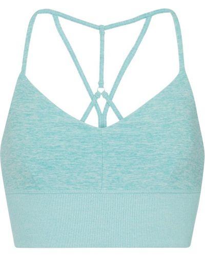 Prążkowany niebieski biustonosz sportowy Alo Yoga