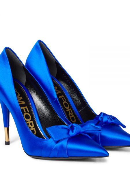 Синие туфли атласные Tom Ford