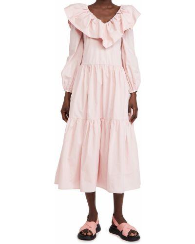 Розовое платье миди с декольте с подкладкой English Factory