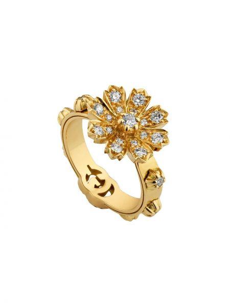 Z rombem biały pierścień z diamentem Gucci