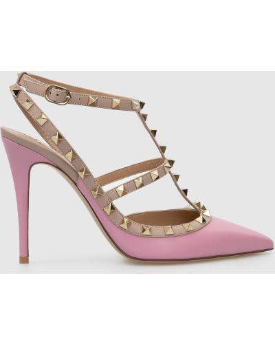 Кожаные розовые туфли Valentino