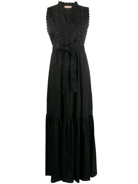 Платье макси с вышивкой с поясом Twin-set