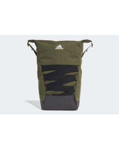 Zielony plecak materiałowy w paski Adidas