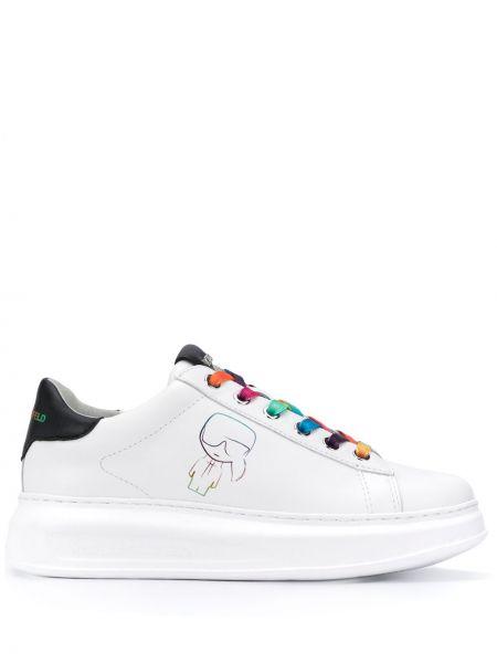 Biały sneakersy z logo na sznurowadłach z prawdziwej skóry Karl Lagerfeld