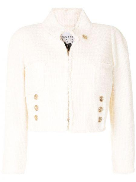 Белый короткая куртка твидовый с воротником Edward Achour Paris
