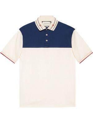 Niebieska koszula krótki rękaw bawełniana Gucci