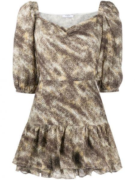 Коричневое расклешенное платье мини с вырезом с короткими рукавами Marysia