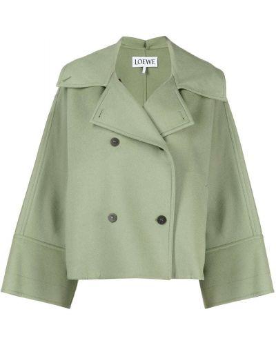 Зеленый удлиненный пиджак двубортный на пуговицах Loewe