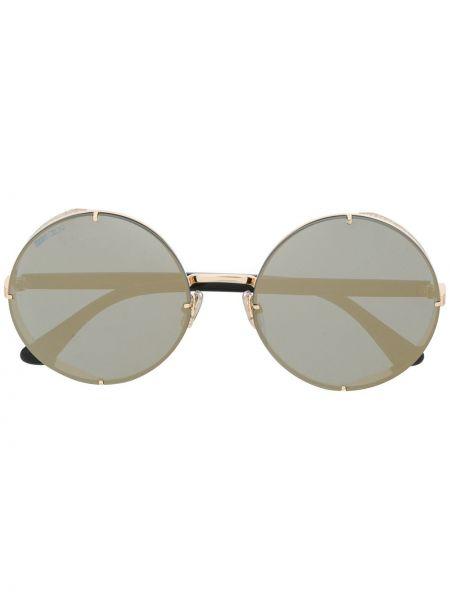 Прямые муслиновые желтые солнцезащитные очки круглые Jimmy Choo Eyewear