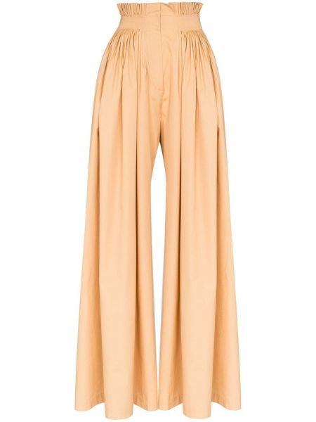 Хлопковые коричневые плиссированные свободные брюки со складками Vika Gazinskaya
