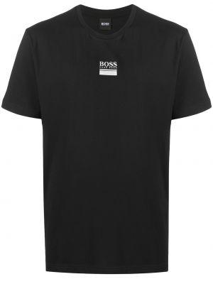 Хлопковая с рукавами черная футболка Boss Hugo Boss