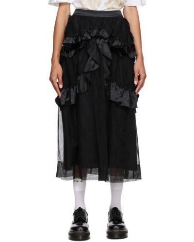 Черная юбка из фатина с карманами Simone Rocha