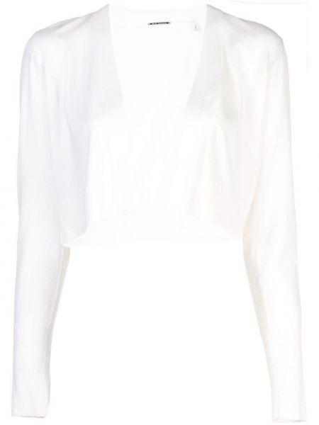 Prążkowany biały kardigan z długimi rękawami Elie Tahari