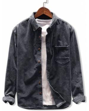 Серая рубашка с карманами вельветовая Zaful