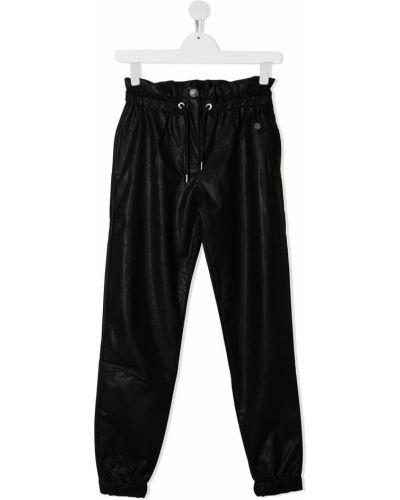 Свободные черные кожаные брюки Alberta Ferretti Kids