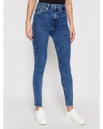 Jeansy rurki z wysokim stanem granatowe Calvin Klein Jeans