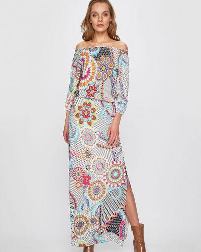 Платье с поясом с открытыми плечами из вискозы Desigual