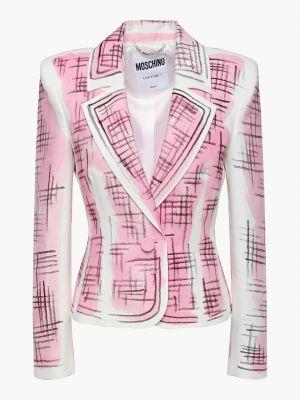 Льняной розовый пиджак на пуговицах Moschino