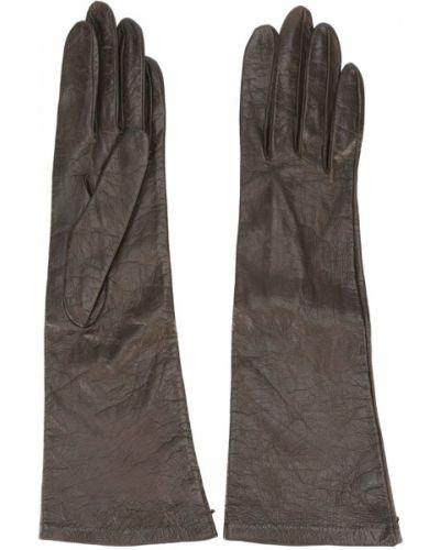 Кожаные перчатки - коричневые Yves Saint Laurent Vintage