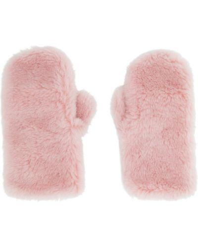 Wełniany różowy rękawiczki prążkowany Yves Salomon