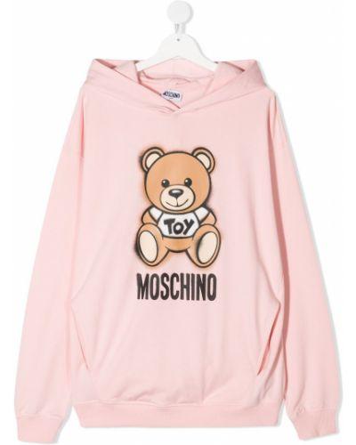 Розовая толстовка с капюшоном с вышивкой Moschino Kids