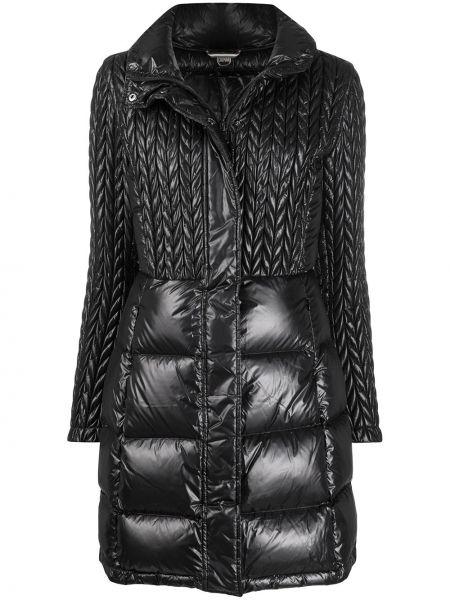 Черное прямое пуховое длинное пальто с воротником Colmar