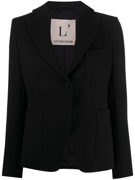 Шерстяной черный удлиненный пиджак с карманами L'autre Chose