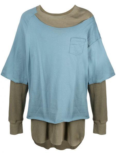 Хлопковая синяя футболка с длинными рукавами Facetasm
