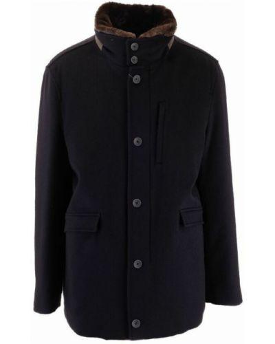 Z kaszmiru płaszcz - niebieski Herno
