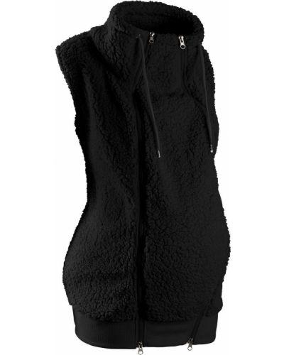 Черная утепленная жилетка на молнии с карманами Bonprix