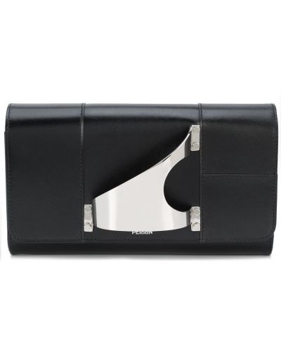 Кожаная черная сумка Perrin Paris