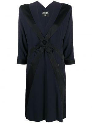 Черное платье с V-образным вырезом трапеция из вискозы Jean Paul Gaultier Pre-owned