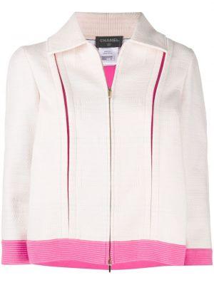 Белая стеганая короткая куртка на молнии Chanel Pre-owned